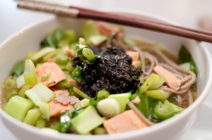 Salmon soba soup with sesame paste